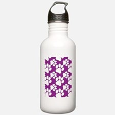 Dog Paws Purple Water Bottle