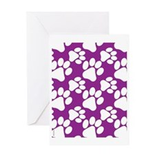 Dog Paws Purple Greeting Card