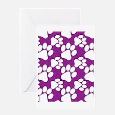 Dog Paws Purple Greeting Card