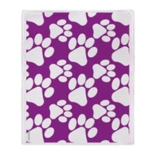 Dog Paws Purple Throw Blanket