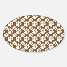 Dog Paws Brown-Small Sticker (Oval)