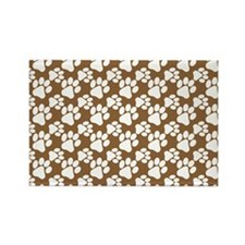 Dog Paws Brown-Small Rectangle Magnet