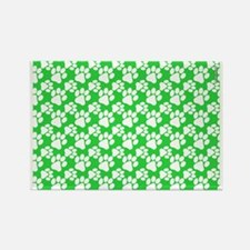 Dog Paws Green-Small Rectangle Magnet