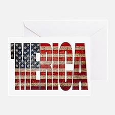 Vintage MERICA U.S. Flag Greeting Card