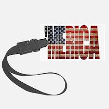 Vintage MERICA U.S. Flag Luggage Tag