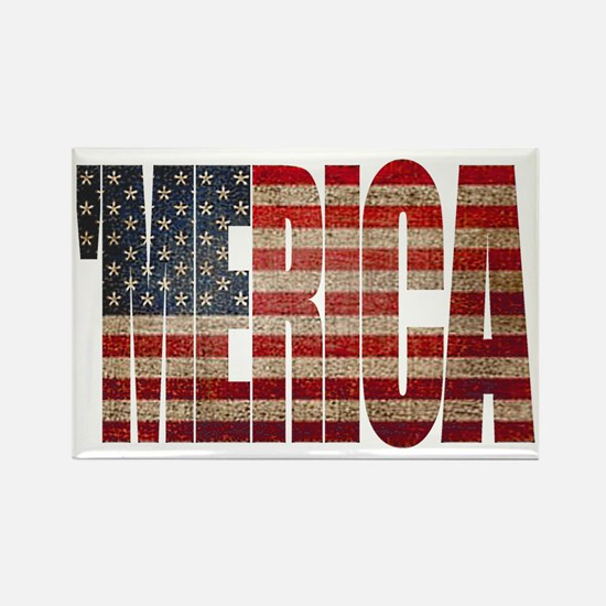 Vintage MERICA U.S. Flag Rectangle Magnet