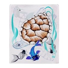 Big White Turtle and Friends Throw Blanket