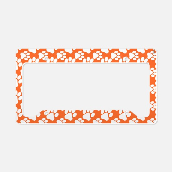 Dog Paws Clemson Orange-Small License Plate Holder