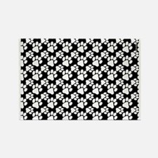 Dog Paws Black-Small Rectangle Magnet