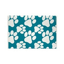 Dog Paws Teal Rectangle Magnet