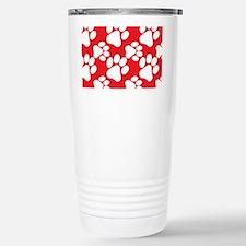 Dog Paws Red Stainless Steel Travel Mug