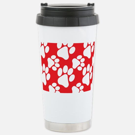 Dog Paws Red Stainless Steel Travel Mug
