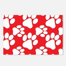 Dog Paws Red Postcards (Package of 8)