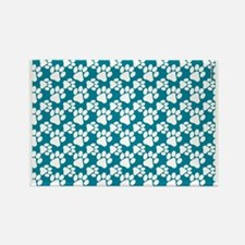 Dog Paws Teal-Small Rectangle Magnet