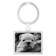 Bulldog Puppy Landscape Keychain