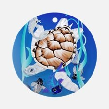 SHOWER CRTAIN Big White Turtle and  Round Ornament