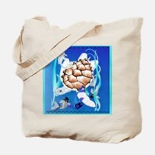 SHOWER CRTAIN Big White Turtle and Friend Tote Bag