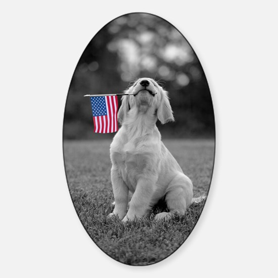4th of July Patriotic Puppy Sticker (Oval)