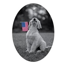 4th of July Patriotic Puppy Oval Ornament
