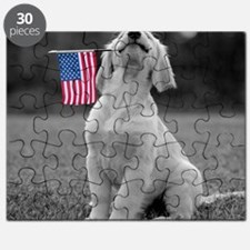 Patriotic Golden Puppy Puzzle