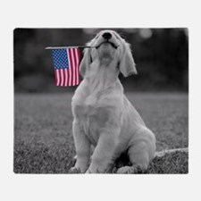 Patriotic Golden Puppy Throw Blanket