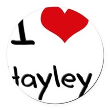 I Love Hayley Round Car Magnet