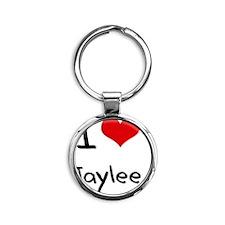 I Love Jaylee Round Keychain