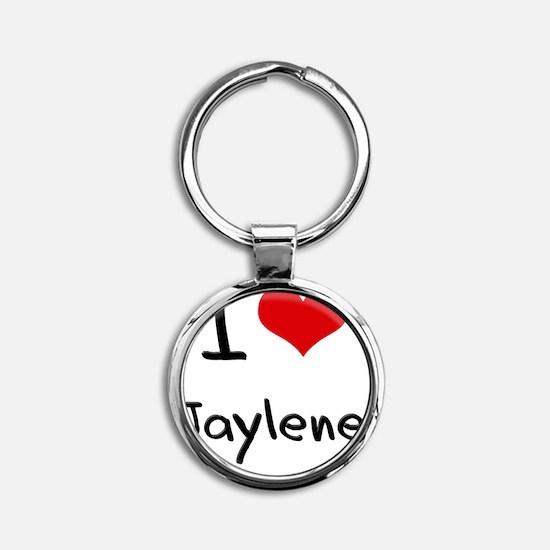 I Love Jaylene Round Keychain