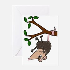 Possom Hanging from Tree Branch Greeting Card