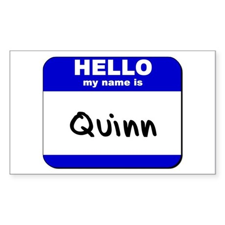 hello my name is quinn Rectangle Sticker