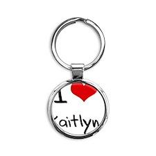 I Love Kaitlyn Round Keychain