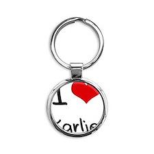 I Love Karlie Round Keychain