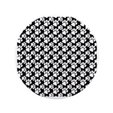 "Dog Paws Black-Small 3.5"" Button"
