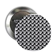 "Dog Paws Black-Small 2.25"" Button"