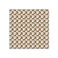 "Dog Paws Brown-Small Square Sticker 3"" x 3"""