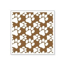 "Dog Paws Brown Square Sticker 3"" x 3"""