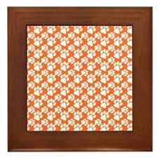 Dog Paws Clemson Orange-Small Framed Tile
