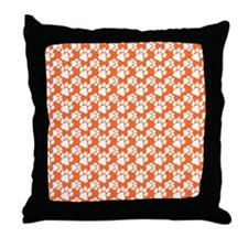 Dog Paws Clemson Orange-Small Throw Pillow