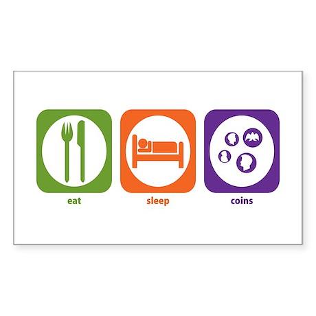 Eat Sleep Coins Rectangle Sticker