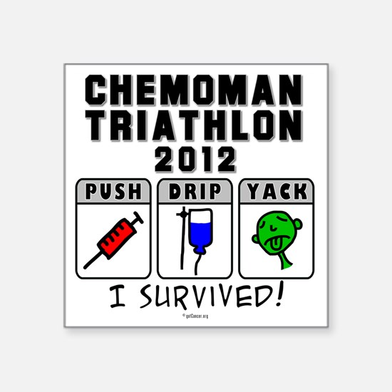 "Chemoman Triathlon 2012 Square Sticker 3"" x 3"""