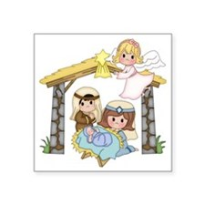 "Childrens Nativity Square Sticker 3"" x 3"""