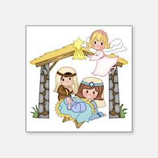 """Childrens Nativity Square Sticker 3"""" x 3"""""""