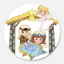 Childrens Nativity Round Car Magnet