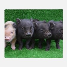 4 micro pigs in a row Throw Blanket
