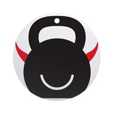 Happy Kettlebell with horns Round Ornament