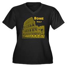 Rome_10x10_v Women's Plus Size Dark V-Neck T-Shirt
