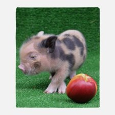 Baby micro pig with Peach Throw Blanket