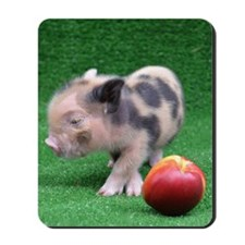 Baby micro pig with Peach Mousepad