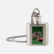 Baby micro pig with Peach Flask Necklace