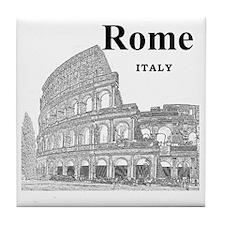 Rome_12X12_v2_Black_Colosseum Tile Coaster